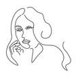 continuous lines sketch portrait a woman vector image