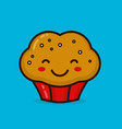 cute happy smiling muffin cupcake vector image vector image