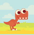 cute t-rex on the field dinosaur life vector image vector image