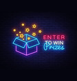 enter to win prizes neon sign gift neon vector image vector image