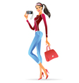 Fashion model presenting a new digital camera vector image vector image