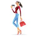 Fashion model presenting a new digital camera vector image