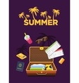 Flat design style travel luggage poster Travel vector image vector image