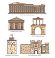 Greece or greek famous line architecture monuments