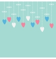 Hanging pink white hearts Dash line with bow vector image vector image