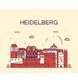 Heidelberg skyline linear vector image