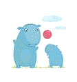Hippopotamus parent playing ball with a child vector image