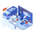 isometric 3d online shopping payments vector image vector image