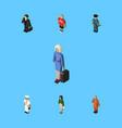 isometric human set of seaman cleaner hostess vector image