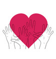 linear human hands with big heart vector image vector image