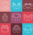 love and care round emblems in linear style vector image vector image