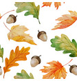 maple and oak watercolor seamless pattern with vector image