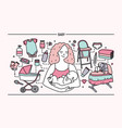 maternity concept horizontal banner with mother vector image vector image