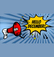 megaphone pop hello december vector image vector image