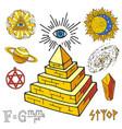 mystic magic esoteric symbols piramide hand vector image