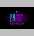 neon lights alphabet yt y t letter logo icon vector image