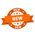 new ribbon new round orange sign new vector image vector image