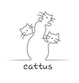 one line cactus in the form of cats vector image