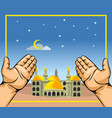 pair hands in front of mosque at night vector image vector image