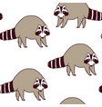 pattern with cute raccoons kids vector image vector image