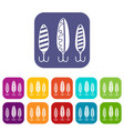 plastic fishing lure icons set vector image vector image