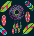 retro dream catcher with colored feathers bohemian vector image