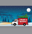 santa driving truck in the night vector image