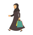 saudi arab muslim woman with shopping bags vector image