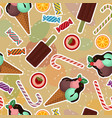 seamless pattern with ice-cream cakes sweets vector image