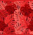 seamless pattern with tropical leaves in coral vector image