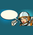 serious astronaut woman points at herself vector image vector image