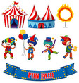 set circus clowns and tents on white background vector image vector image
