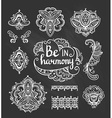 set ornamental boho style flowers and elements vector image vector image