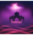 silhouette a mosque in moon night vector image