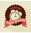 super discount clock brown sticker banner design vector image