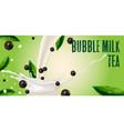 tea with milk and tapioca splash milk vector image vector image