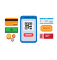 ticket mobile payment with barcode flat vector image vector image