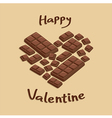 Valentine Heart Milk Chocolate Bar vector image