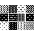 crowns and fleur de lis seamless patterns vector image
