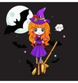 Adorable little witch Halloween vector image vector image