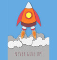 banner with spaceship launch and wish not to give vector image vector image