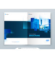 blue brochure cover template layout design vector image