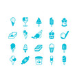 blue ice cream icons simple flat set frozen vector image vector image