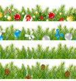 Border With Christmas Tree Set vector image vector image