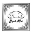 bread fresh croissant vintage frame wheat vector image