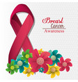 Breast cancer awareness flowers and ribbon