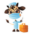 bull doctor veterinarian syringe vaccinated vector image vector image