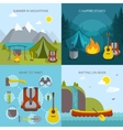 Camping Square Icons Set vector image vector image