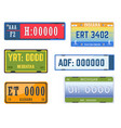 car numbers plates vehicle license american states vector image vector image
