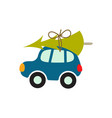 cartoon car with xmas tree on the roof vector image vector image